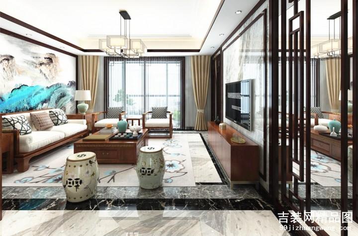 星河晨光新中式风格普通住宅装修设计效果图
