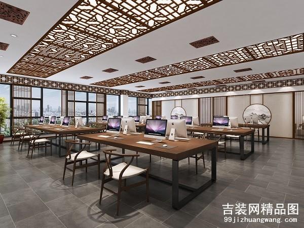 万洋中式办公室装修案例